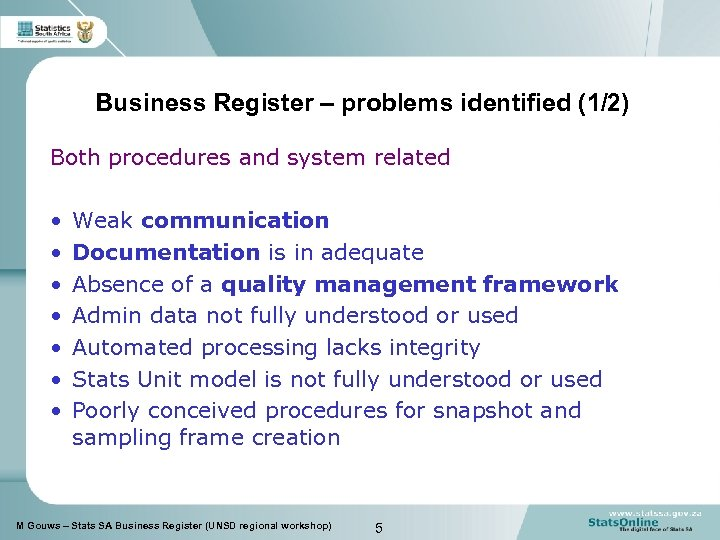 Business Register – problems identified (1/2) Both procedures and system related • • Weak