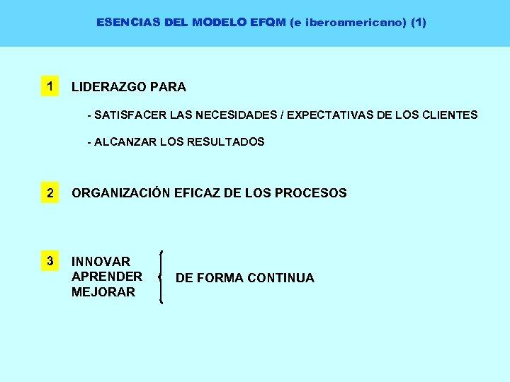 ESENCIAS DEL MODELO EFQM (e iberoamericano) (1) 1 LIDERAZGO PARA - SATISFACER LAS NECESIDADES