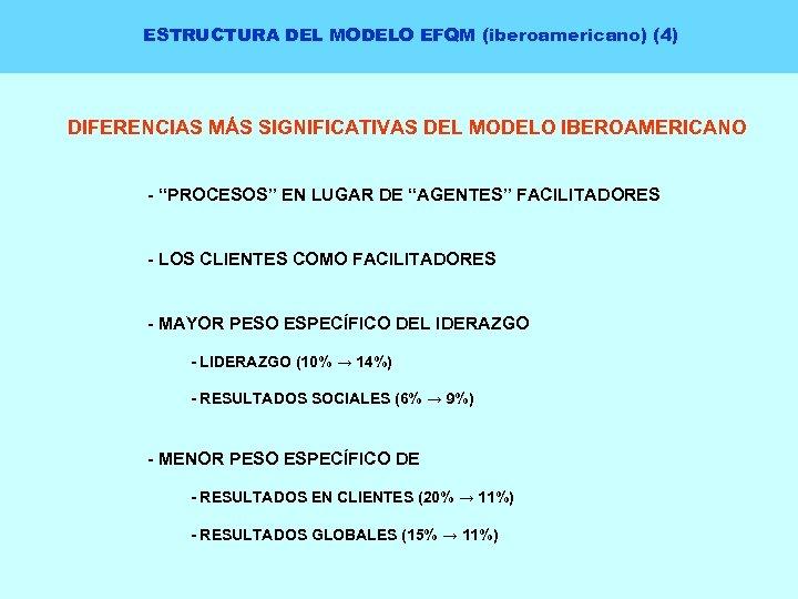 """ESTRUCTURA DEL MODELO EFQM (iberoamericano) (4) DIFERENCIAS MÁS SIGNIFICATIVAS DEL MODELO IBEROAMERICANO - """"PROCESOS"""""""