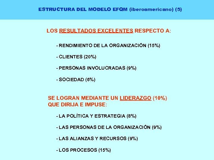 ESTRUCTURA DEL MODELO EFQM (iberoamericano) (5) LOS RESULTADOS EXCELENTES RESPECTO A: - RENDIMIENTO DE