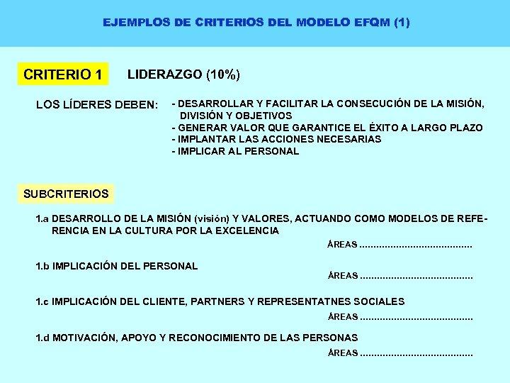 EJEMPLOS DE CRITERIOS DEL MODELO EFQM (1) CRITERIO 1 LIDERAZGO (10%) LOS LÍDERES DEBEN:
