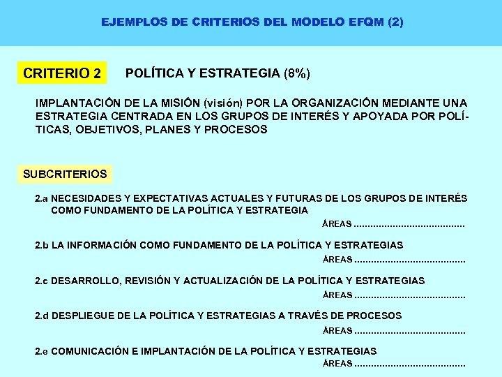 EJEMPLOS DE CRITERIOS DEL MODELO EFQM (2) CRITERIO 2 POLÍTICA Y ESTRATEGIA (8%) IMPLANTACIÓN