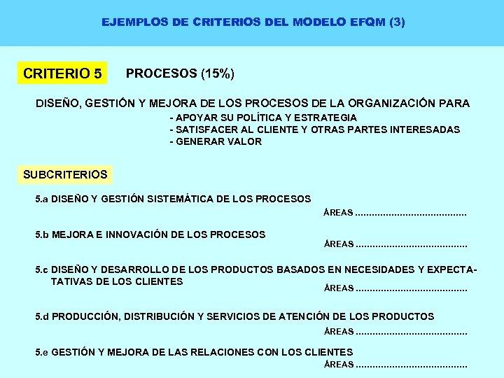 EJEMPLOS DE CRITERIOS DEL MODELO EFQM (3) CRITERIO 5 PROCESOS (15%) DISEÑO, GESTIÓN Y