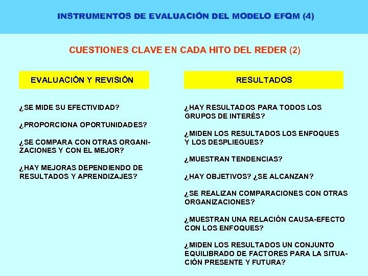 INSTRUMENTOS DE EVALUACIÓN DEL MODELO EFQM (4) CUESTIONES CLAVE EN CADA HITO DEL REDER