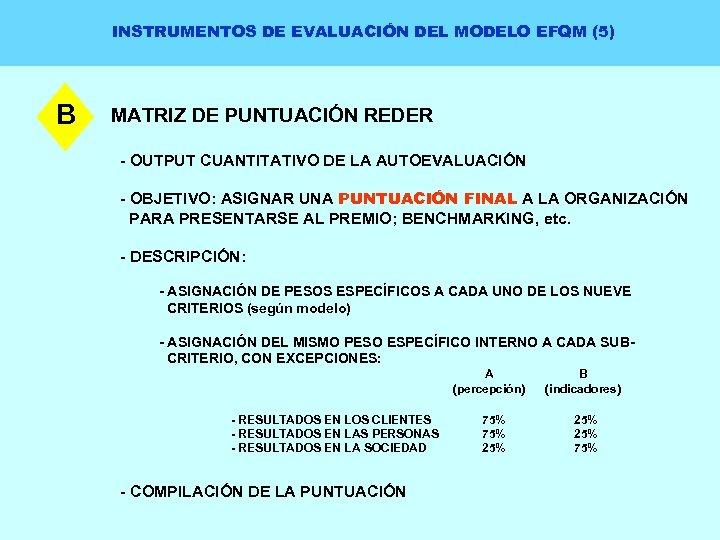 INSTRUMENTOS DE EVALUACIÓN DEL MODELO EFQM (5) B MATRIZ DE PUNTUACIÓN REDER - OUTPUT