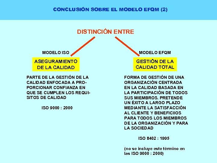 CONCLUSIÓN SOBRE EL MODELO EFQM (2) DISTINCIÓN ENTRE MODELO ISO MODELO EFQM ASEGURAMIENTO DE