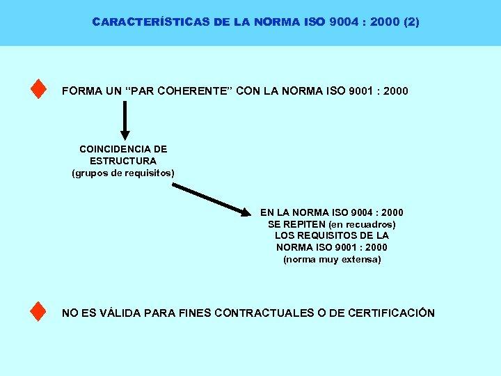 """CARACTERÍSTICAS DE LA NORMA ISO 9004 : 2000 (2) FORMA UN """"PAR COHERENTE"""" CON"""
