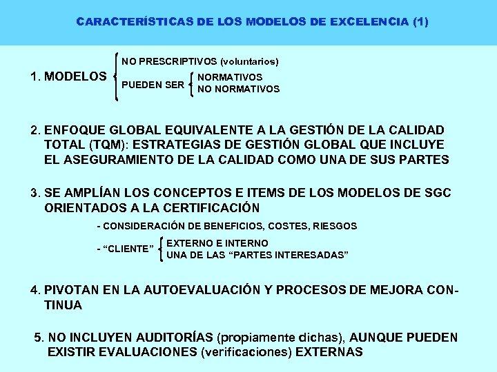 CARACTERÍSTICAS DE LOS MODELOS DE EXCELENCIA (1) NO PRESCRIPTIVOS (voluntarios) 1. MODELOS PUEDEN SER