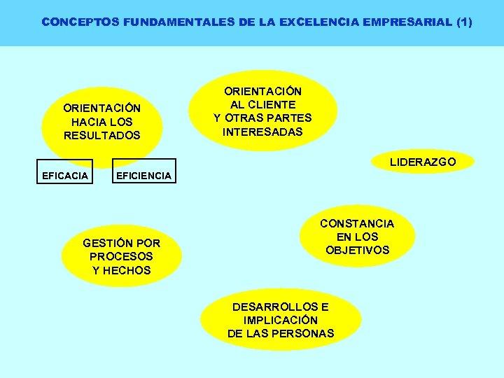 CONCEPTOS FUNDAMENTALES DE LA EXCELENCIA EMPRESARIAL (1) ORIENTACIÓN HACIA LOS RESULTADOS ORIENTACIÓN AL CLIENTE