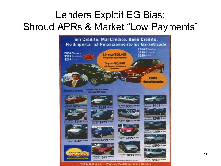 "Lenders Exploit EG Bias: Shroud APRs & Market ""Low Payments"" 26"