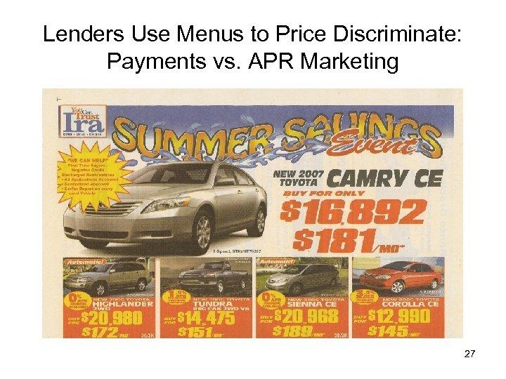 Lenders Use Menus to Price Discriminate: Payments vs. APR Marketing 27