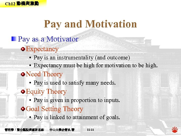 Ch 12 動機與激勵 Pay and Motivation Pay as a Motivator Expectancy • Pay is