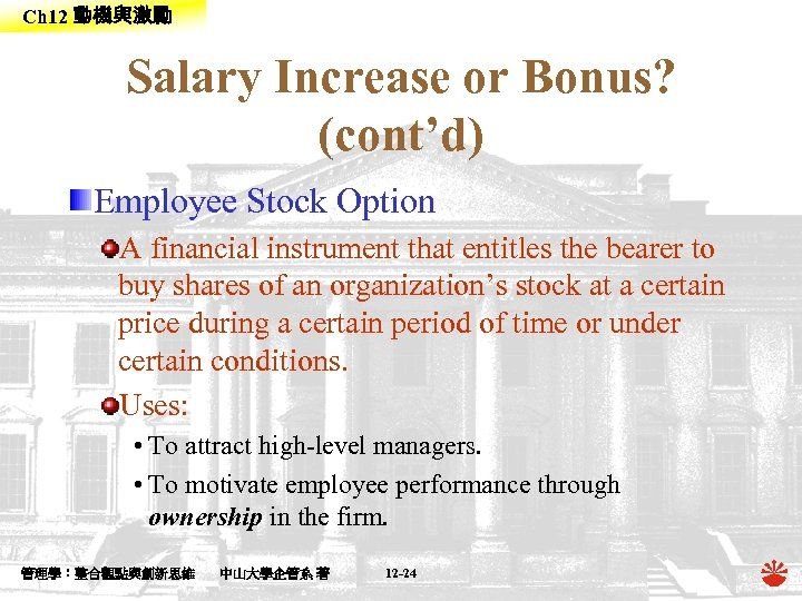 Ch 12 動機與激勵 Salary Increase or Bonus? (cont'd) Employee Stock Option A financial instrument