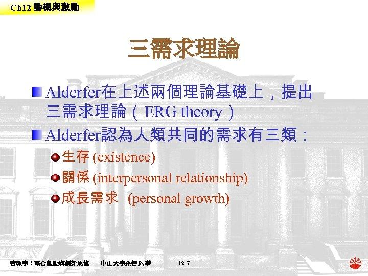 Ch 12 動機與激勵 三需求理論 Alderfer在上述兩個理論基礎上,提出 三需求理論(ERG theory) Alderfer認為人類共同的需求有三類: 生存 (existence) 關係 (interpersonal relationship) 成長需求