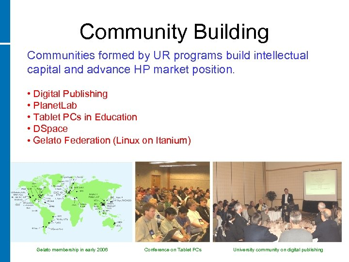 Community Building Communities formed by UR programs build intellectual capital and advance HP market