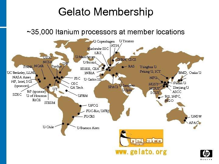 Gelato Membership ~35, 000 Itanium processors at member locations U Copenhagen U Tromso KTH