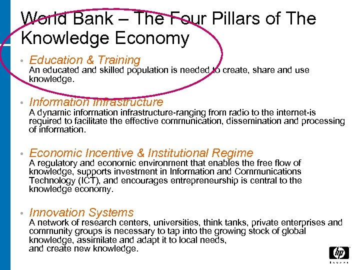 World Bank – The Four Pillars of The Knowledge Economy • Education & Training