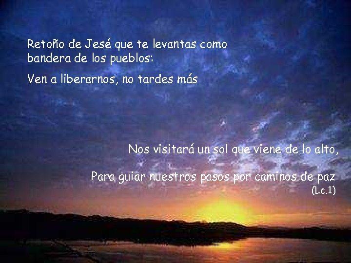 Retoño de Jesé que te levantas como bandera de los pueblos: Ven a liberarnos,