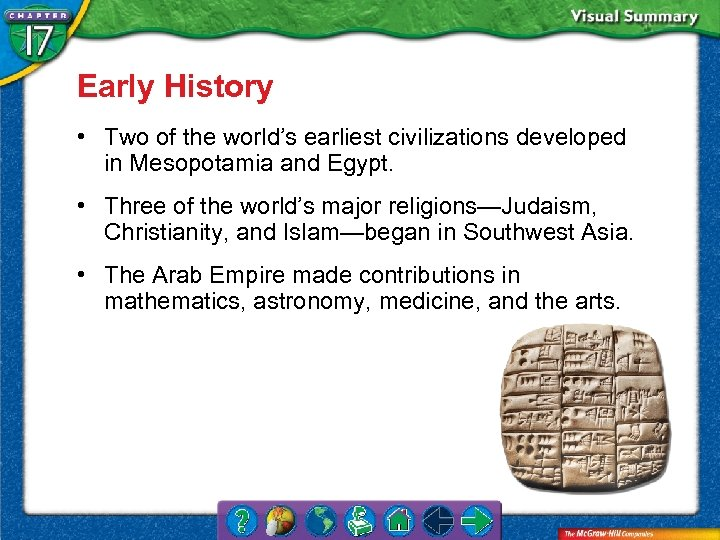 Early History • Two of the world's earliest civilizations developed in Mesopotamia and Egypt.