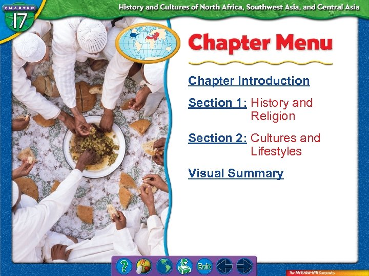 Chapter Introduction Section 1: History and Religion Section 2: Cultures and Lifestyles Visual Summary