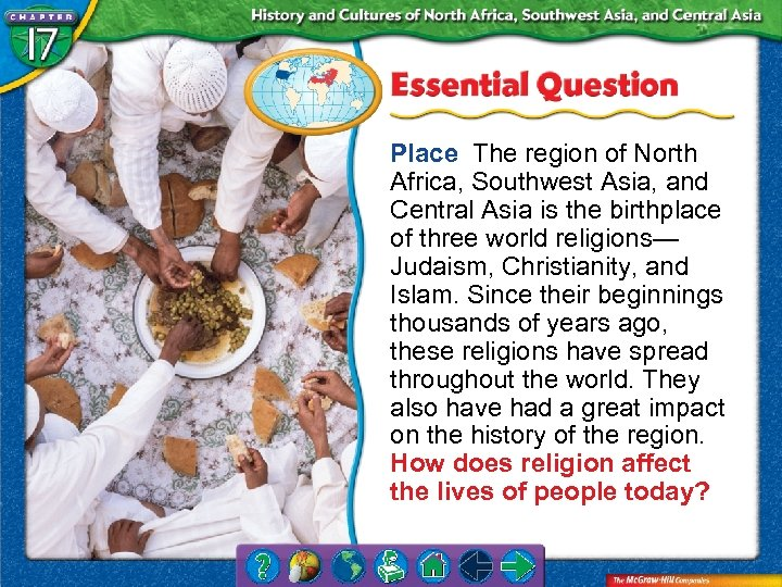 Place The region of North Africa, Southwest Asia, and Central Asia is the birthplace
