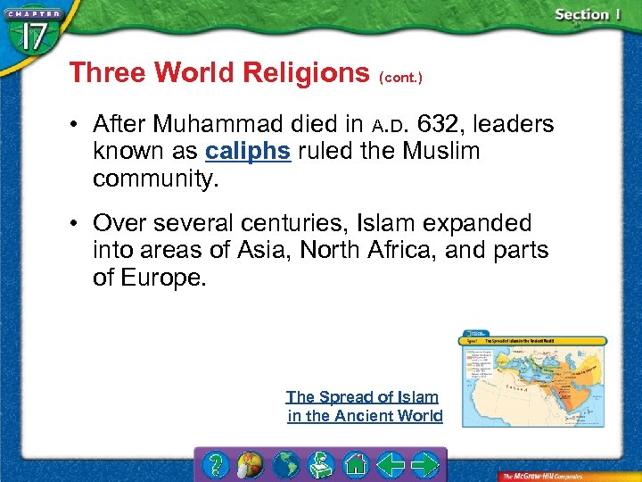 Three World Religions (cont. ) • After Muhammad died in A. D. 632, leaders
