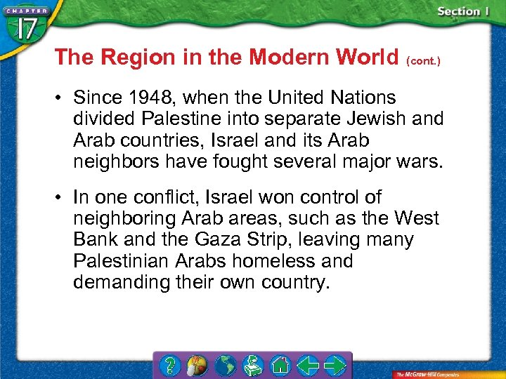 The Region in the Modern World (cont. ) • Since 1948, when the United
