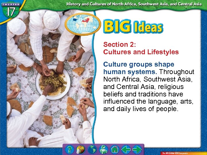 Section 2: Cultures and Lifestyles Culture groups shape human systems. Throughout North Africa, Southwest
