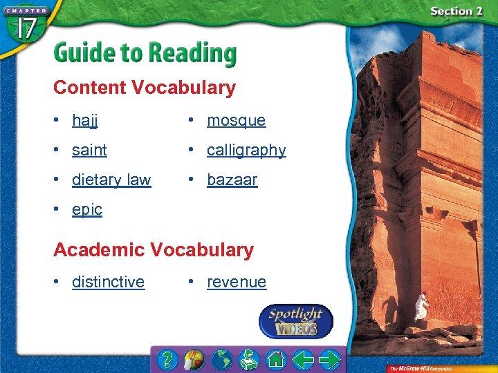 Content Vocabulary • hajj • mosque • saint • calligraphy • dietary law •