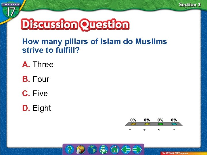 How many pillars of Islam do Muslims strive to fulfill? A. Three B. Four