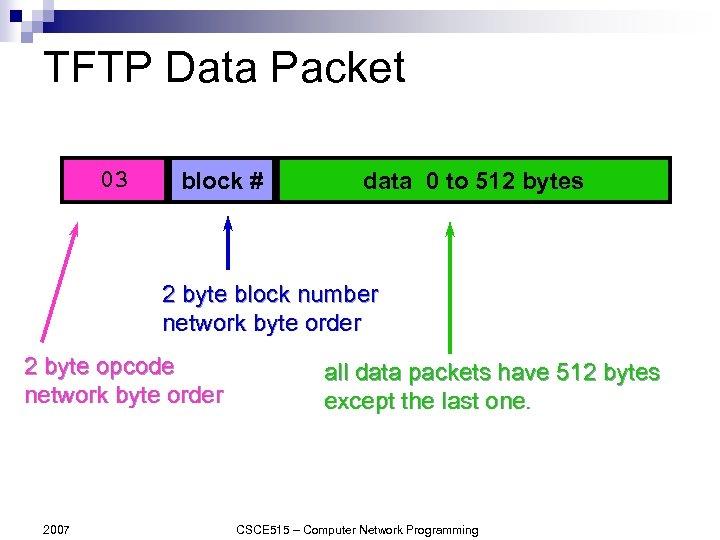 TFTP Data Packet 03 block # data 0 to 512 bytes 2 byte block