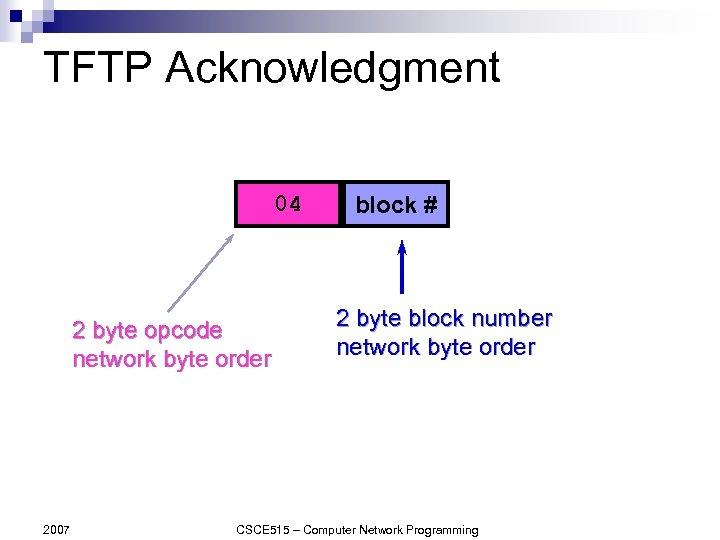 TFTP Acknowledgment 04 2 byte opcode network byte order 2007 block # 2 byte