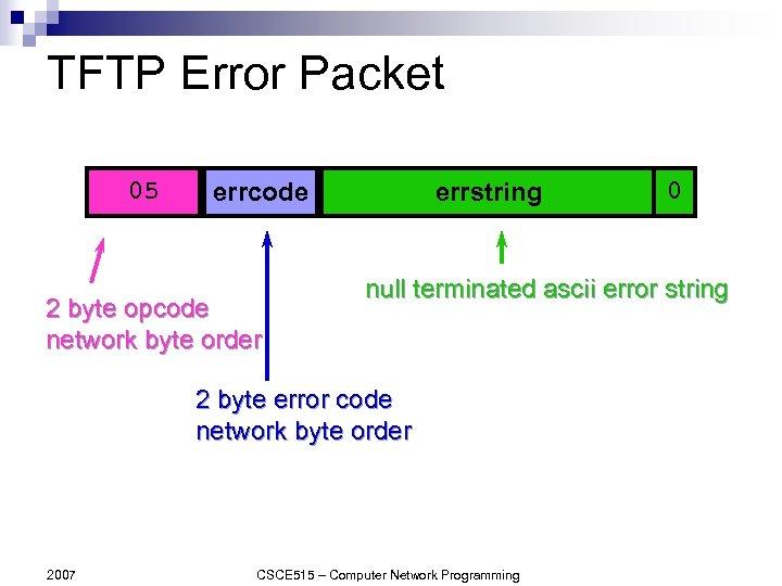 TFTP Error Packet 05 errcode 2 byte opcode network byte order errstring null terminated
