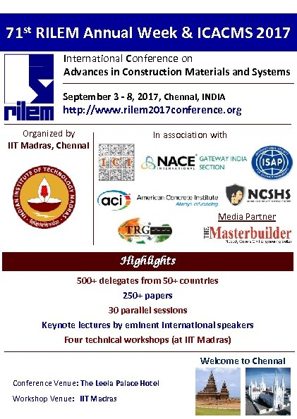71 st RILEM Annual Week & ICACMS 2017 International Conference on Advances in Construction
