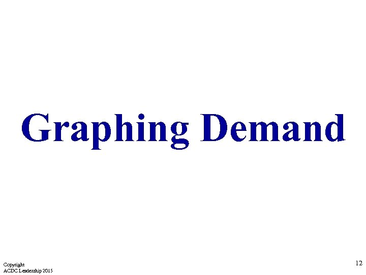 Graphing Demand Copyright ACDC Leadership 2015 12
