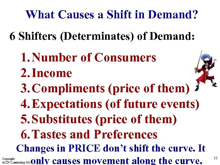 What Causes a Shift in Demand? 6 Shifters (Determinates) of Demand: 1. Number of