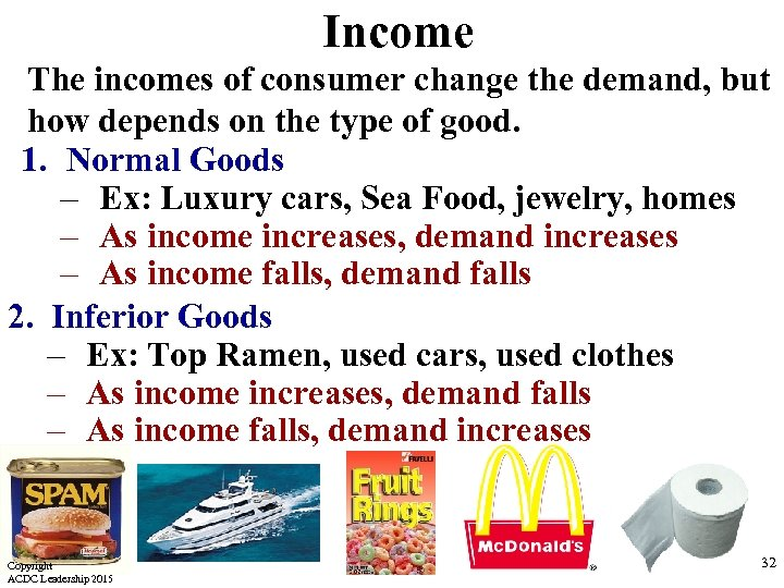 Income The incomes of consumer change the demand, but how depends on the type