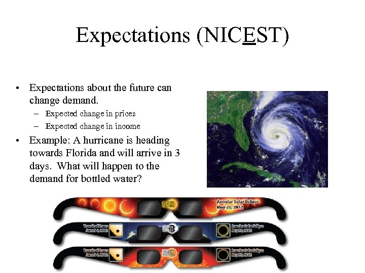 Expectations (NICEST) • Expectations about the future can change demand. – Expected change in