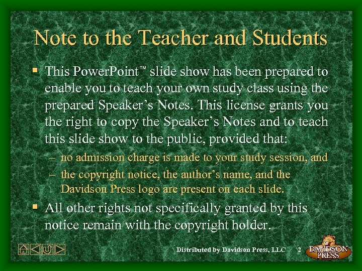 Note to the Teacher and Students § This Power. Point™ slide show has been