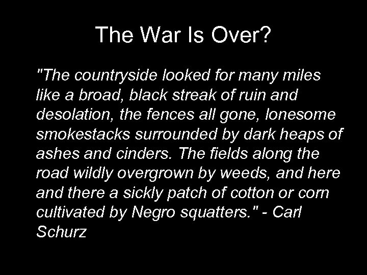 The War Is Over?