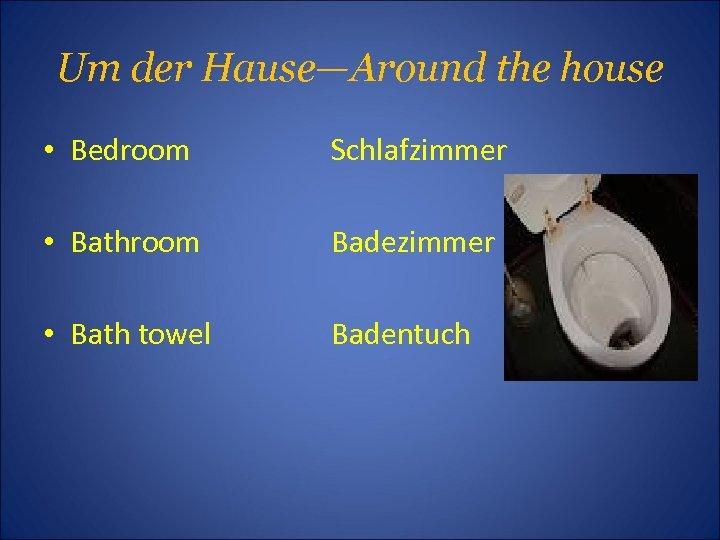 Um der Hause—Around the house • Bedroom Schlafzimmer • Bathroom Badezimmer • Bath towel