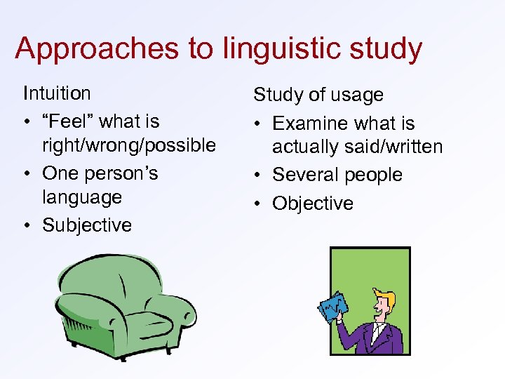 "Approaches to linguistic study Intuition • ""Feel"" what is right/wrong/possible • One person's language"