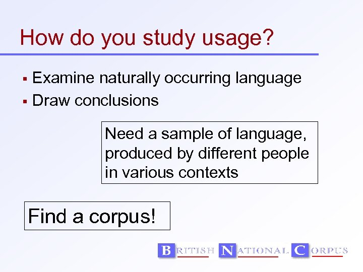 How do you study usage? Examine naturally occurring language Draw conclusions Need a sample