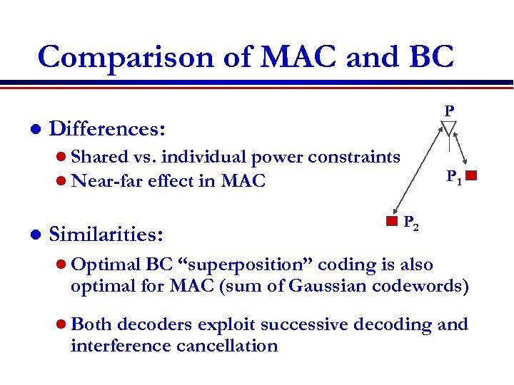 Comparison of MAC and BC l Differences: l Shared vs. individual power l Near-far