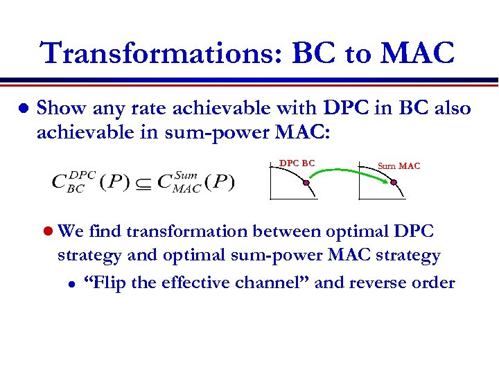 Transformations: BC to MAC l Show any rate achievable with DPC in BC also