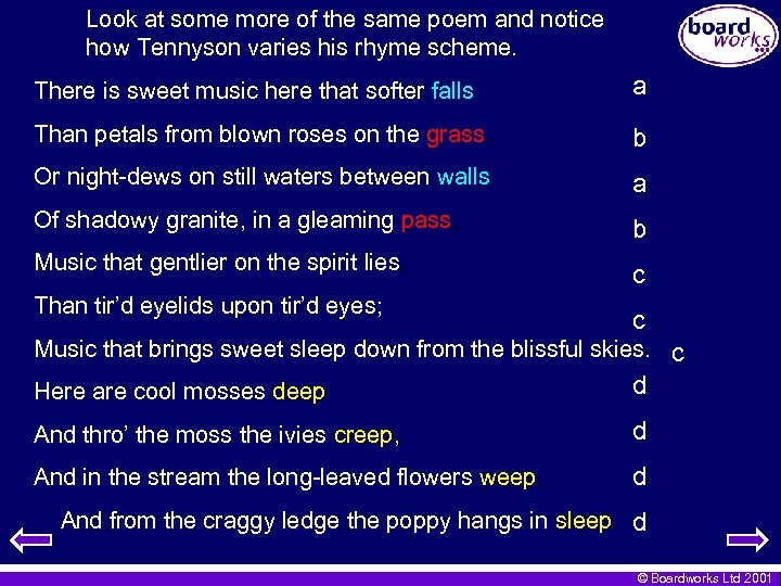 Look at some more of the same poem and notice how Tennyson varies his