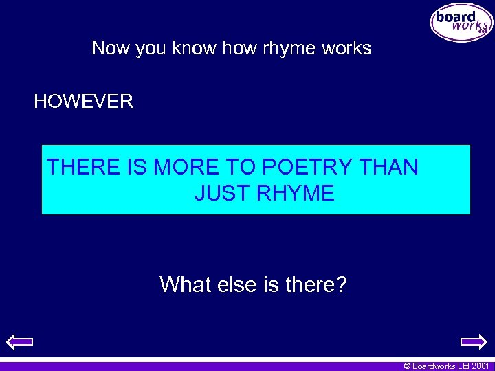 Now you know how rhyme works HOWEVER THERE IS MORE TO POETRY THAN JUST
