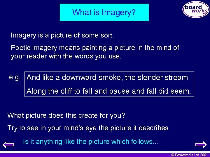 What is Imagery? Imagery is a picture of some sort. Poetic imagery means painting