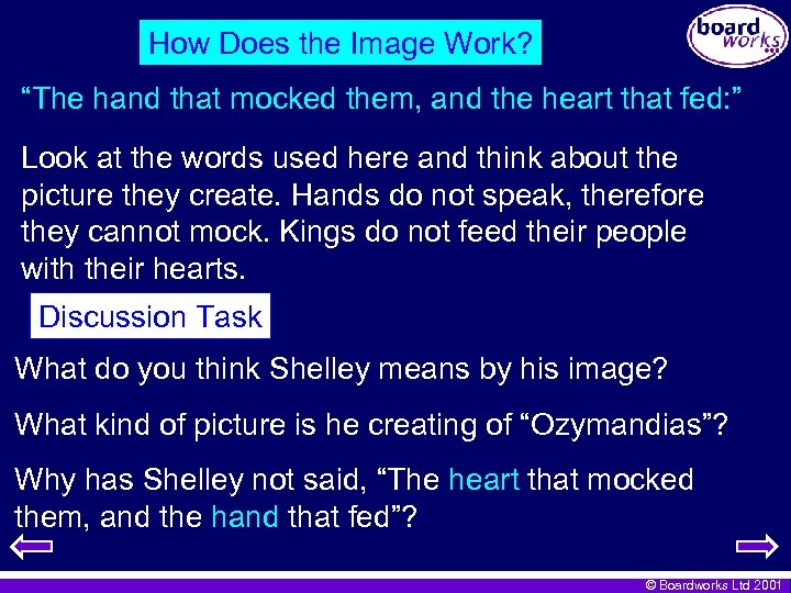 """How Does the Image Work? """"The hand that mocked them, and the heart that"""