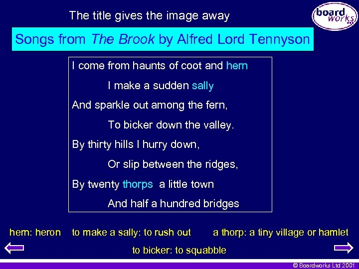 The title gives the image away Songs from The Brook by Alfred Lord Tennyson